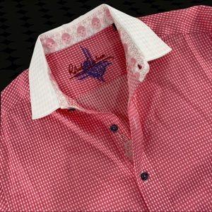 Robert Graham Skull Pink Gingham Plaid Shirt